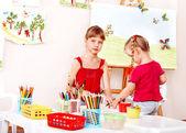 Children painting colour pencil . — Stock Photo
