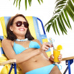 Girl in bikini drinking cocktail. — Stock Photo #12242346