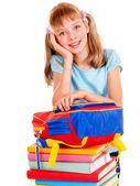 Escuela infantil con el libro. aislado. — Foto de Stock