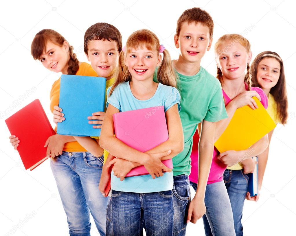 Group of happy teen school child with book.  Isolated. — Stock Photo #12242237