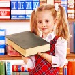 Child with stack book. - Foto Stock