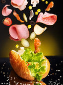 Hamburger with ingredient. — Stock Photo