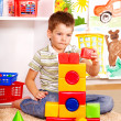 Kid boy in kindergarten. - Foto Stock