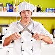 Male wearing chef uniform. - Foto Stock