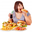Stock Photo: Womeating fast food.
