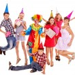 Royalty-Free Stock Photo: Birthday party group of teen with clown.