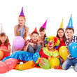 Birthday party group of teen with clown. — Stock Photo #12803220
