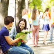 Couple of teenager on date outdoor. - Foto Stock