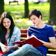 Group student with notebook. — Foto Stock