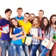 Group student with notebook. — Stockfoto