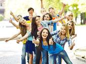 Group in summer outdoor. — Foto de Stock