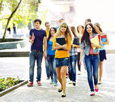 Group student outdoor. — Stock Photo
