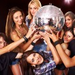 Woman on disco in night club. - Stock Photo