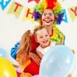 Birthday party group of teen with clown. - Photo