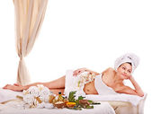 Woman getting spa treatment outdoor. — Stock Photo