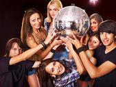 Woman on disco in night club. — Stock Photo