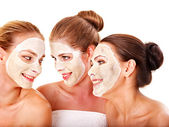 Group women with facial mask. — Stock Photo