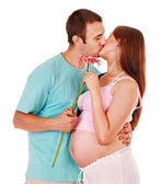 Pregnant woman with man . — Stock Photo