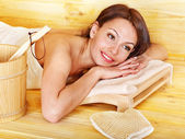 Girl in sauna. — Stock Photo