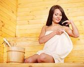 Woman with sauna equipment. — Stock Photo