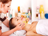 Woman getting facial massage . — Stock Photo