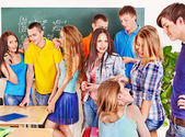 Group student near blackboard. — Stock Photo