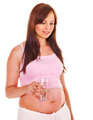 Pregnant woman drink water. — Stock Photo