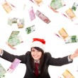 Business woman with flying money. — Stock Photo #1336991