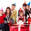 Happy family with red gift box. — Stock Photo #1337081