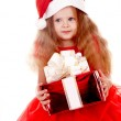 Child girl in santa hat with gift box. — Stock Photo #1337764