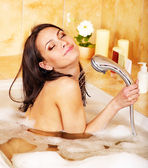 Young woman take bubble bath. — Stock Photo