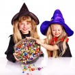 Witch  children with trick or treat. — Stock Photo