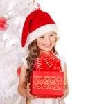 Kid with Christmas gift box. — Stock Photo #13463474