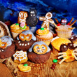 Halloween table with trick or treat — Stock Photo #13463519