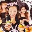 Halloween party with children holding trick or treat. — Stock Photo #13463741