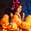 Witch woman with Jack O'Lantern. - Stock Photo