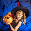 Stock Photo: Witch child at Halloween party.