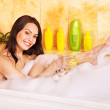 Woman wash leg in bathtube. — Stock Photo