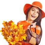 Woman holding orange handbag. — Stock Photo