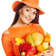 Woman holding autumn basket. — Stock Photo