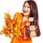 Woman holding orange handbag. — Stock Photo #13464279