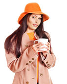Woman wearing overcoat and hat. — Stock Photo