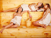 Woman relaxing in sauna. — Stock Photo