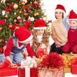Kids with Christmas gift box. — Foto Stock