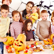 Family on Halloween party with children. — Stock Photo #13614683