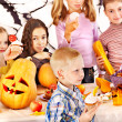 Halloween party with children holding trick or treat. — Stock Photo #13614693