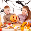 Halloween party with children holding trick or treat. — Stock Photo #13614699