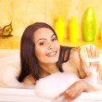 Woman take bubble bath. — Stock Photo