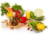 Fresh vegetable on wooden boards. — Stock Photo