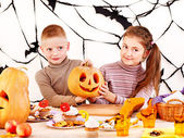 Halloween party with children holding trick or treat. — Foto de Stock
